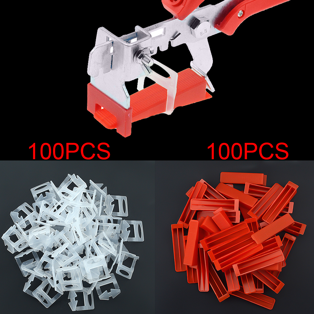 200PCS Plastic Ceramic Tile Leveling System 100 Clips+100 Wedges Tiling Floor Wall Carrelage Tools Clips Spacers Locator Leveler