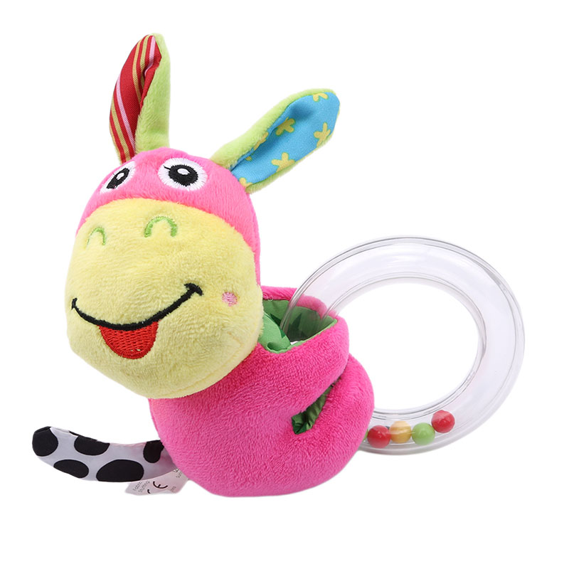 Baby Bed Rattle Toys Cartoon Animal Hand Bells Plush Toy Dolls Baby Music Rattle For Kid Children Bed And Stroller Toys