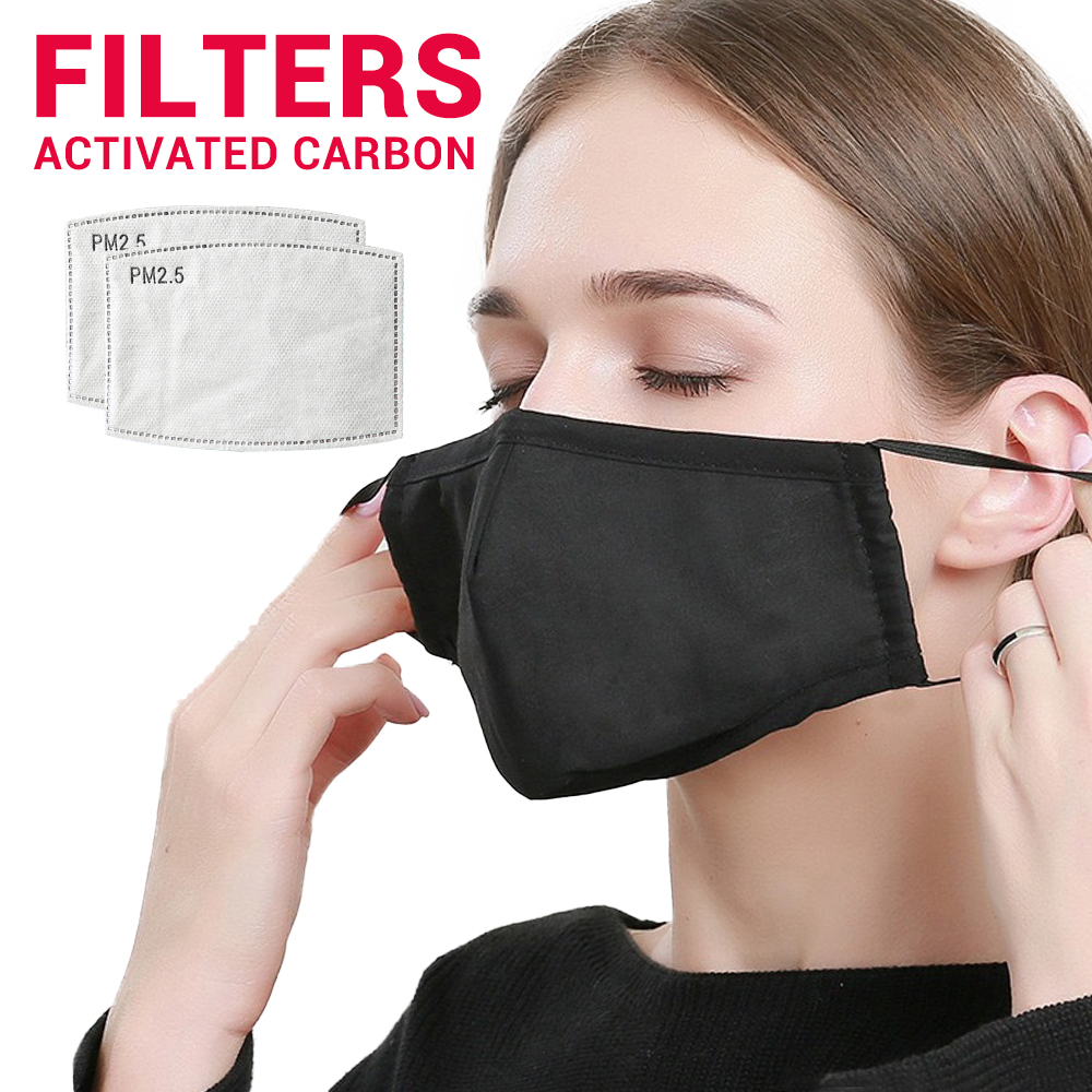 Face Mask Mouth Caps Cotton Motorcycle Masks Balaclava Protection Mask Moto Activated Carbon Filter Dust Reusable Face Shield