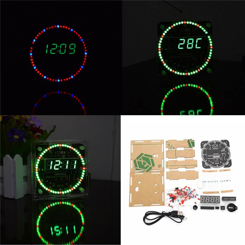 Upgrade DIY EC1515B DS1302 Light Control Rotation LED Electronic Clock Kit Diy Night Lamp Christmas Decor 51 SCM Learning Board