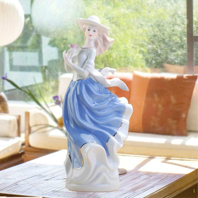Europe Ceramic Beauty Figurines Home Furnishing Crafts Decoration Western Porcelain handicraft Ornament Wedding Gift A 5