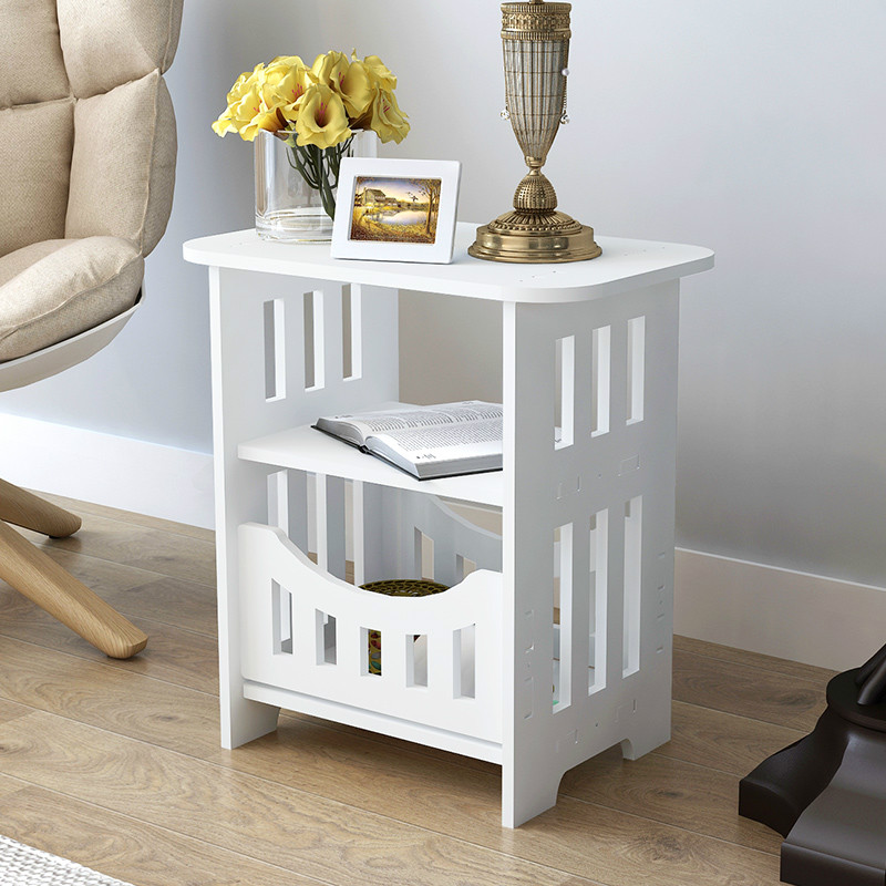 Simple White Bedside Small Table Plastic Tea Coffee Table For Bedroom Office Magazine Storage Shelf Home Decor Cabinet Mx3111150