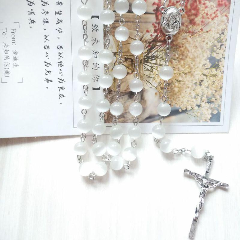 Qigo religioso jóias opalas branco rosário católico colar longo jesus cruz colar