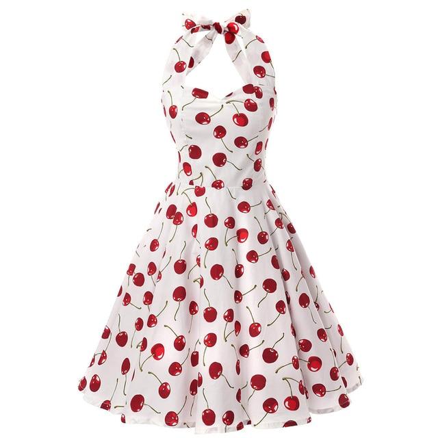 Halter Pin Up Audrey hepburn 50s 60s Vintage Dress Short Vintage Cherry Print Floral Swing Retro Rockabilly Summer Dress