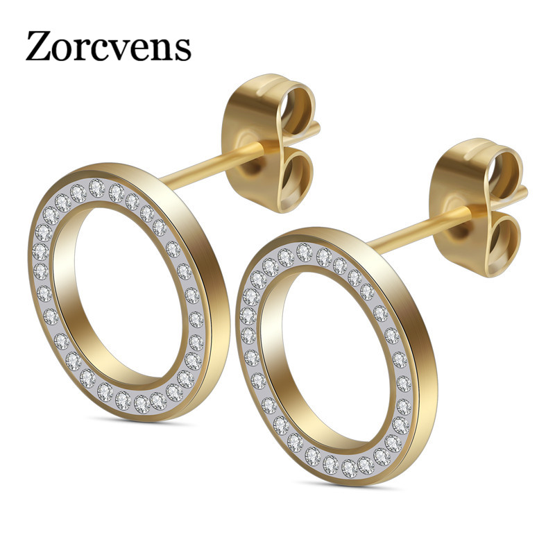 ZORCVENS 2020 New Gold silver color 316L Stainless Steel CZ Stone Stud Earrings For Women Bijoux Jewelry