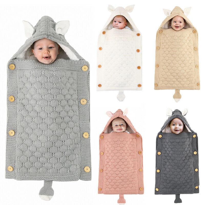 Newborn Baby Girls Boys Swaddle Wrap Blanket Sleeping Bag Button Solid Warm Bedding Knit