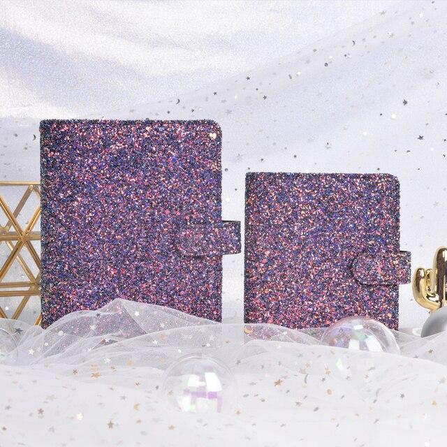 Lovedoki Sequins Series Binder Notebook 2021 A6 Korean Cute Spiral Planner Organizer Personal Diary Book School Stationery