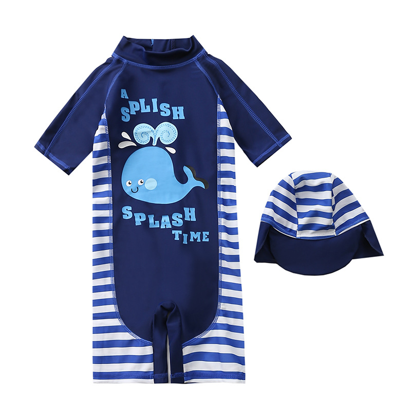KID'S Swimwear One-piece BOY'S New Style Japanese And South Korean Style Infant Boy Navy Blue Whale Swimwear Baby Swim Bathing S