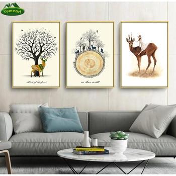 Chica Ángel y ciervo Sika bosque Animal nórdico Kawaii Posters estampados arte de pared lienzo pintura cuadros de pared decoración de habitación de niños