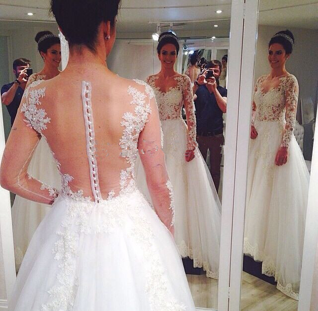 Real Photo New Elegant 2018 Vestido De Noiva Lace Appliques Long Sleeves Sequins Beading Bridal Gown Mother Of The Bride Dresses