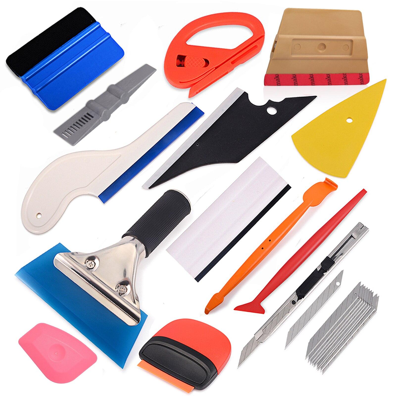 FOSHIO Vinyl Wrap Car Carbon Fiber Magnet Squeegee Window Tint Rubber Scraper Sticker Cutter Knife Tool Set Wrapping Accessories