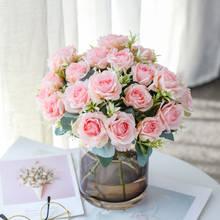 Seda rosa rosa flores artificiais bouquet de plástico alta qualidade acessórios para casa sala estar decoração mesa casamento falso flor