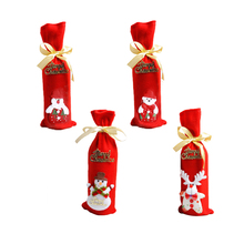 Christmas Wine Bottle Cover Red Bags Gift Home Party Table Decor Bear Champagne Covers Pouches Packaging