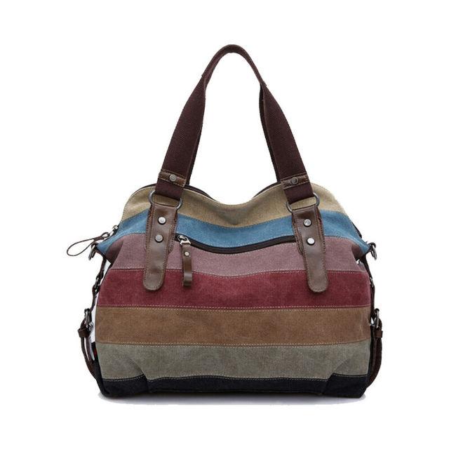 New large-capacity women's tote color striped canvas handbag multi-function laptop messenger shoulder bag