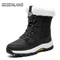 Women's Walking Shoes With Fur High Top Casual Outdoor Snow Boots Water Resistant Warm Ankle Barefoot Boots Winter Female Shoes