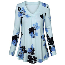 Winter Fashion Women Casual Long Sleeve V-Neck T-shirt Loose Solid Color Button Tunic Top