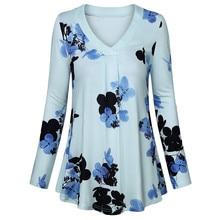купить Winter Fashion Women Casual Long Sleeve V-Neck T-shirt Loose Solid Color Button Tunic Top дешево