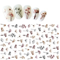 1 Pcs 8*13cm New Nail Stickers 10 Kinds of Flowers, Animals, Ink and Flowers 3D Nail Stickers Nail Art Transfer Decals