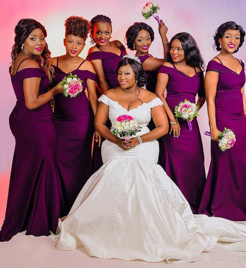New Purple Mermaid Bridesmaid Dresses Spaghetti Off Shoulder Simple Garden Country Plus Size Wedding Guest Gowns Maid of Honor