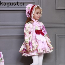 Spain design Floral Girl Royal princess Dress Long Sleeve Party Christmas Ball Gowns Set vestidos gift free shipping