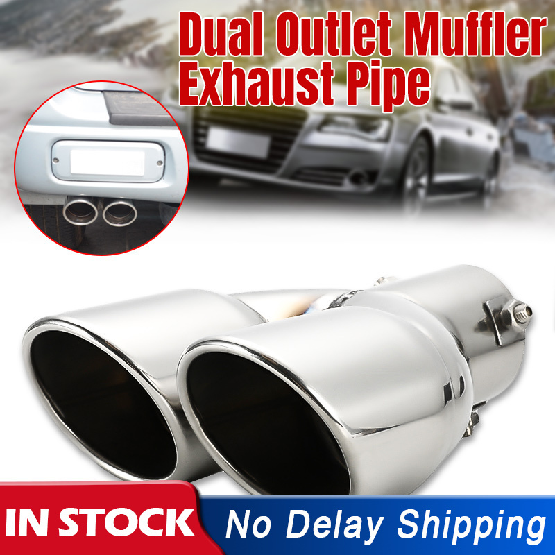 2PCs 63mm Universal Stainless Steel Car Muffler Exhaust Dual Tip End Tail Pipe