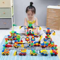 111pcs Big Size Building Blocks Car Model Traffic Building Brick Compatible LG Duplo Large Size Educational Blocks