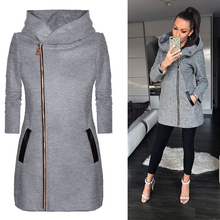 Women Casual Long Zipper Hooded Jacket Solid Long Sleeve Zip-up Sweatshirts Autumn Winte Plus Size Outwear Hoody Coat недорого