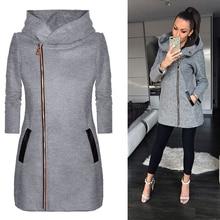 Women Casual Long Zipper Hooded Jacket Solid Long Sleeve Zip-up Sweatshirts Autumn Winte Plus Size Outwear Hoody Coat цена в Москве и Питере