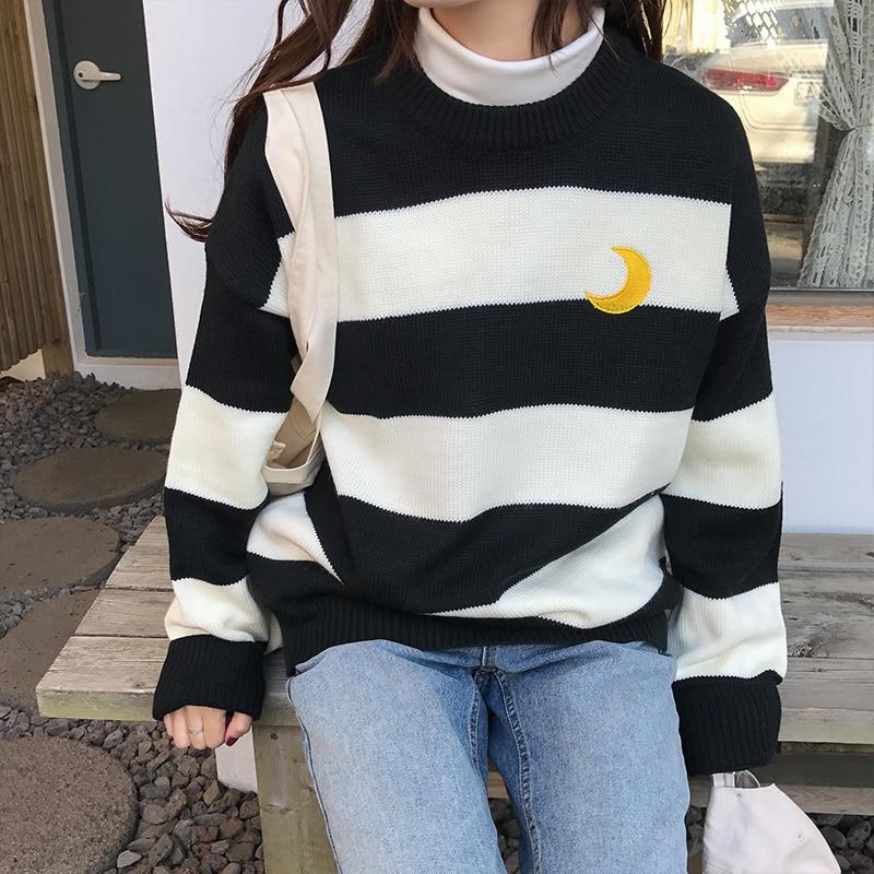 2019 зима-осень, женские свитера, Kawaii, яркие, контрастные, в полоску, с Луной, свитер, женский, корейский, Harajuku, одежда для женщин