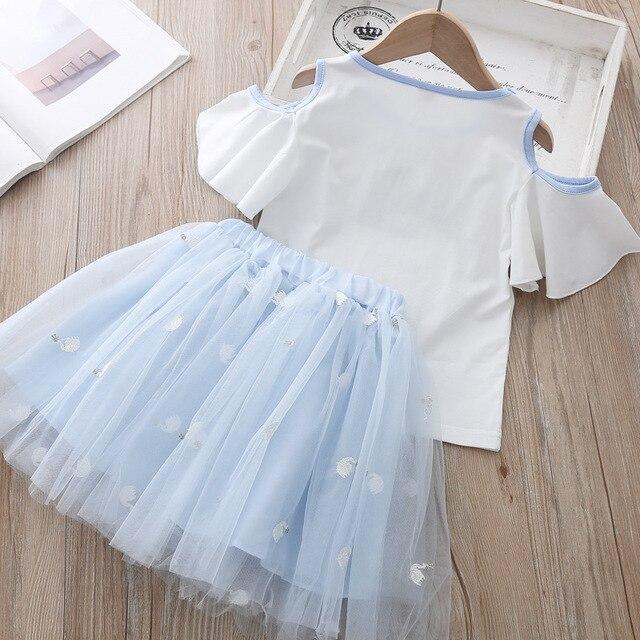 Vêtements dété mode filles tenues perle cygne broderie hors de lépaule t-shirt et jupe en maille mignon petites filles ensemble de vêtements