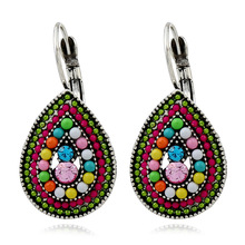Boho Drop Earrings For Women Ethnic Vintage Silver Color Multicolor Water Bead Bohemia Dangle  Brincos Statement Jewelry