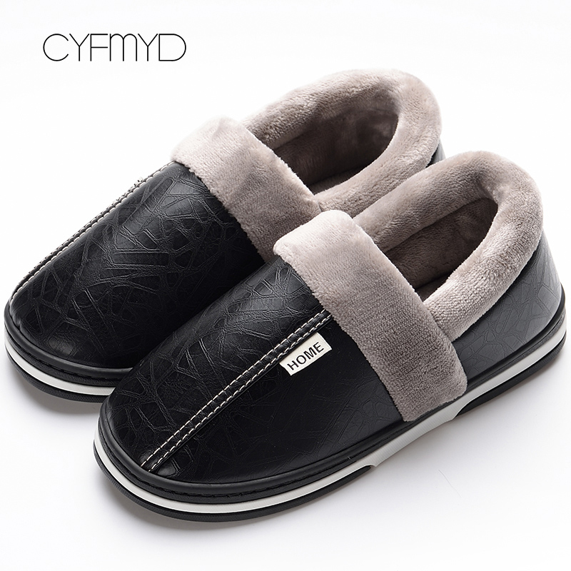Winter Leather Slippers For Men Plus Size 48 Sturdy Sole Fur Slippers Home 2019 Wear-resistant Warm Boys Slipper Indoor