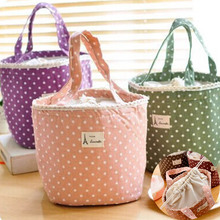 Fashion Casual Portable Lunch Bag Dots Insulated Canvas Thermal Food Picnic Lunch Bags For Women Kids Cooler Lunch Box Bag Tote цена 2017