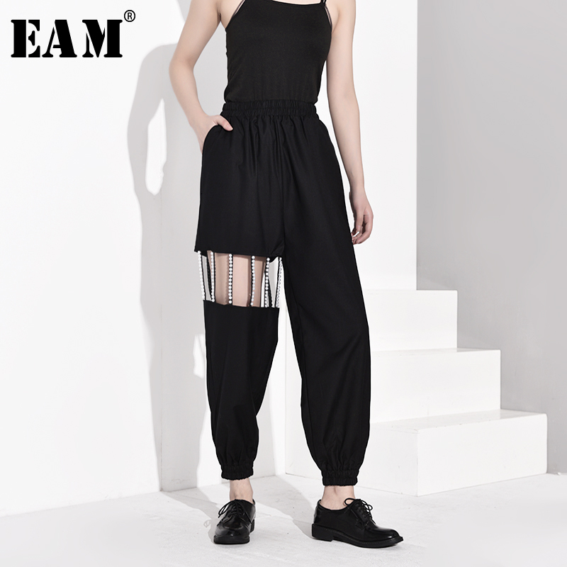 [EAM] High Elastic Waist Black Pearled Hollow Out Wide Leg Trousers New Loose Fit Pants Women Fashion Spring Autumn 2020 JY7750