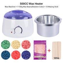 Hair Removal Wax Melts Machine Kit 500CC Pot Depilatory Wax Heater Machine Mini Wax Heater Set With 100g Or 200g Wax Beans