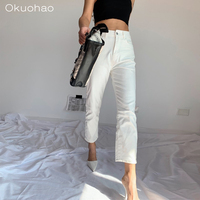 Women's Stretch Jeans Slim White Girlfriend High Waist Cropped Straight Pants