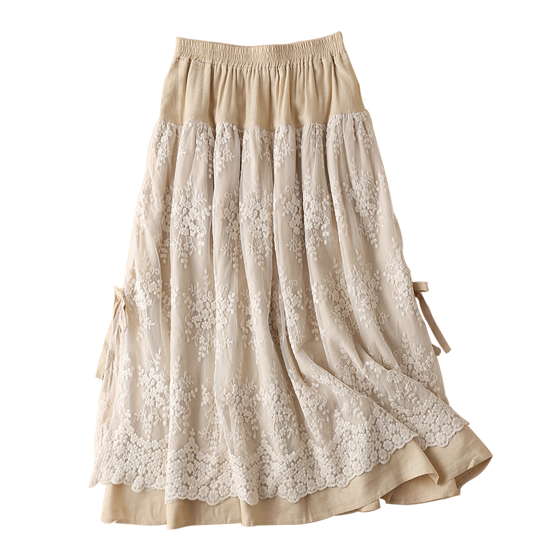 Free Shipping 2020 New Long Maxi Skirts Women Elastic Waist Spring And Summer Linen Cotton Skirt Embroidery Flower Lace Pockets