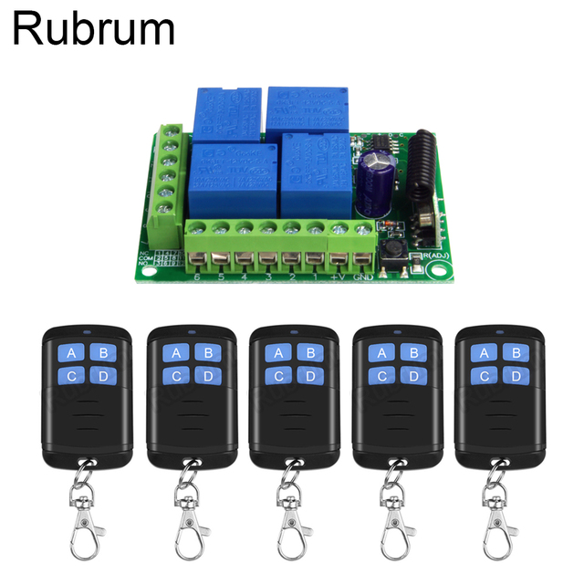 Rubrum 433MHz Universal Wireless DC 12V 4 Ch RF Remote Control Switch Receiver Module & 433 MHz Transmitter Learning Code Switch