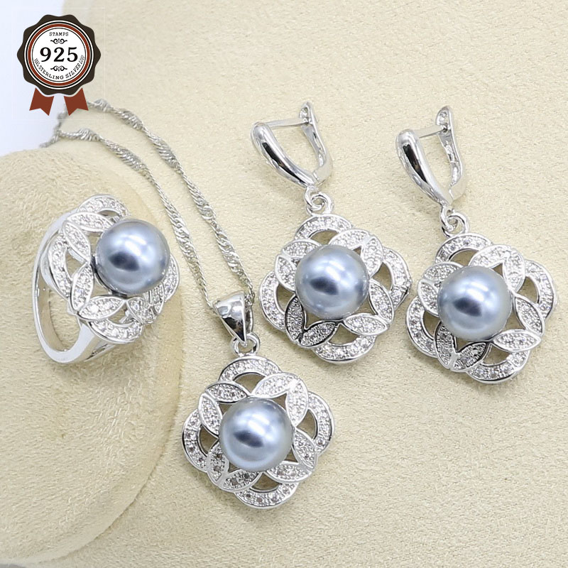 Gray Pearl 925 Silver Wedding Jewelry Set for Women Earring Necklace Pendant Ring Birthday Gift