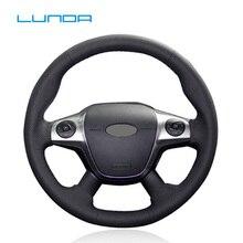 LUNDA кожаный сшитый вручную чехол рулевого колеса автомобиля для Ford Focus 3 2012- KUGA Escape 2013