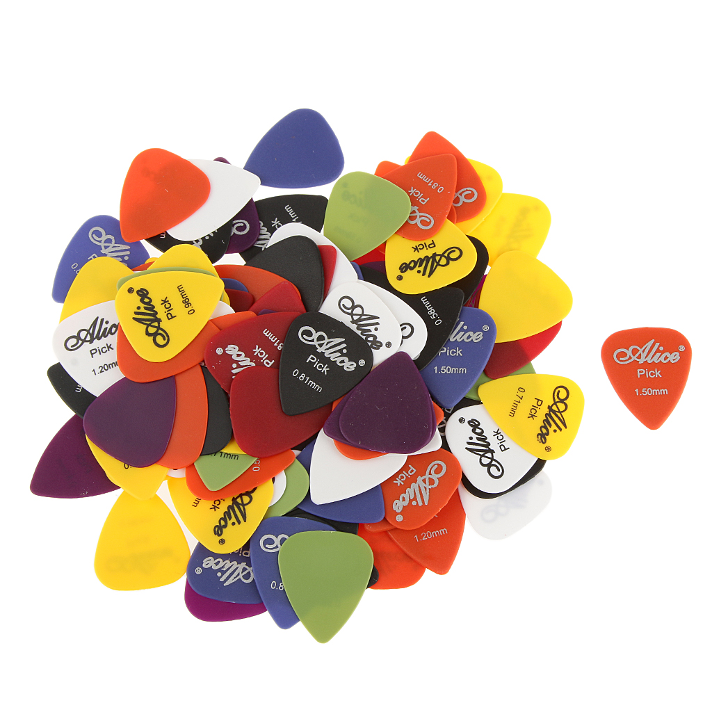100 Pieces Alice Nylon Standard Colored Guitar Picks & Canvas Acoustic Guitar Strap image