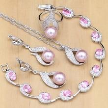 Silver 925 Bridal Jewelry Sets Pink Pearls Beads For Women Wedding Earrings/Pendant/Ring/ Zircon Bracelet/Necklace Set