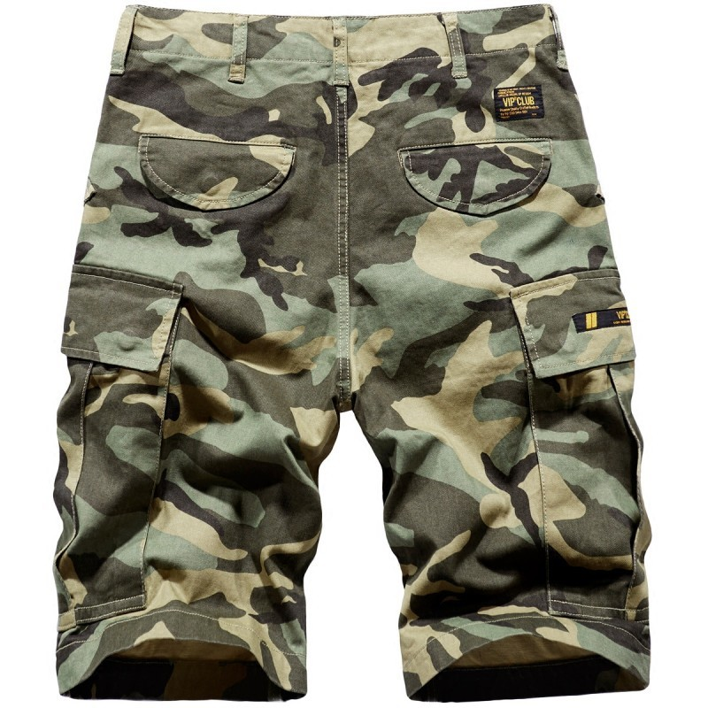 New Summer Mens Cotton Shorts Cargo Camouflage Pockets Beach Short Pants Loose Casual Trousers Male Knee Length Shorts Homme