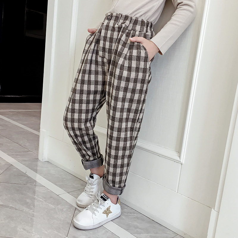 2019 Pants For Girls Plaid Woolen Children's Trousers For Girls Elastic Waist Pants For Girls Winter Kids Casual Suit Pants New Year