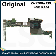 CPU Laptop Motherboard 801507-501 DA0Y0DMBAF0 X360 for HP Spectre with 4GB I5-5200u LSC