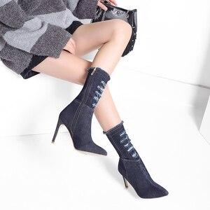Image 5 - لوسيفر 2020 ربيع الخريف الدنيم الجينز النساء الأحذية منتصف العجل أشار تو موضة رقيقة عالية الكعب أحذية كاجوال Zapatos Mujer