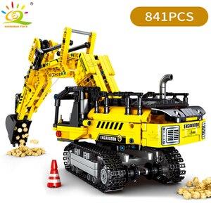 Image 2 - Huiqibao 841 peças escavadora de esteiras blocos de construção técnica cidade engenharia construção tijolos brinquedos para crianças menino presente