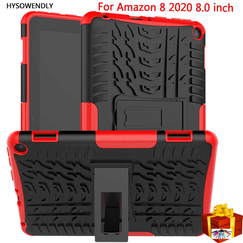 "Hysowendly Armor Hybrid Case Voor Amazon Brand Hd 8 2020 Tablet Voor Amazon HD8 2020 8.0 ""Inch Stand Hard pc + Soft Silicone Cover"