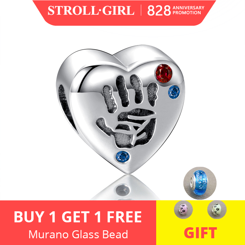 925-Sterling-Silver Beads New-Arrival Bracelet Charms Jewelry-Making Palm-Print Heart-Shape