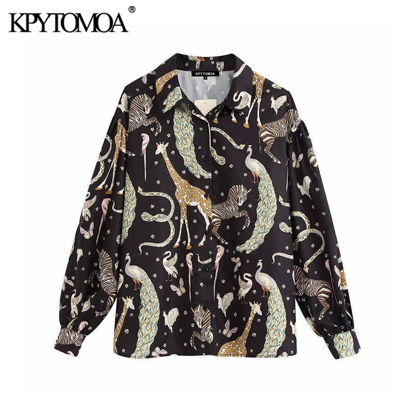KPYTOMOA Women 2020 Vintage Fashion Animal Pattern Blouses Lapel Collar Long Sleeve Office Wear Female Shirts Blusas Chic Tops